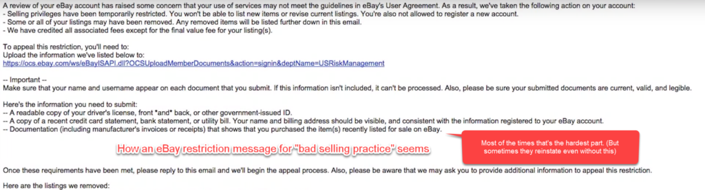eBay account blocked? Can probably be unblocked